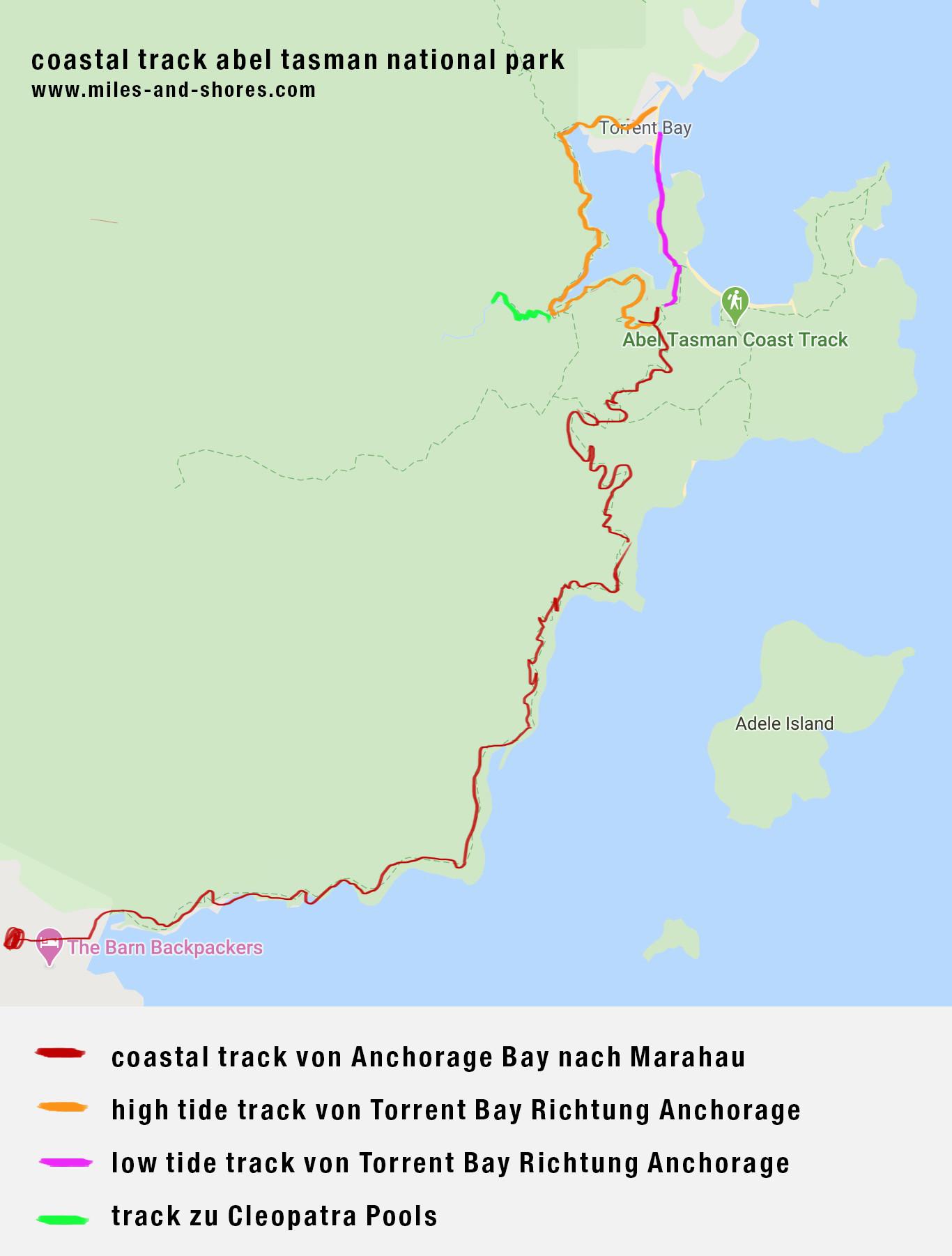 Unsere Route des Coastal Tracks im Abel Tasman Nationalpark in Neuseeland. Die Route bei Flut ist um einiges länger, als bei Ebbe