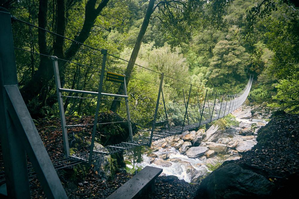 Copland Track, Hängebrücke, Brücke, Swing Bridge, Regenwald, Urwald, Wanderung, wandern, Miles and Shores, Neuseeland, Südinsel