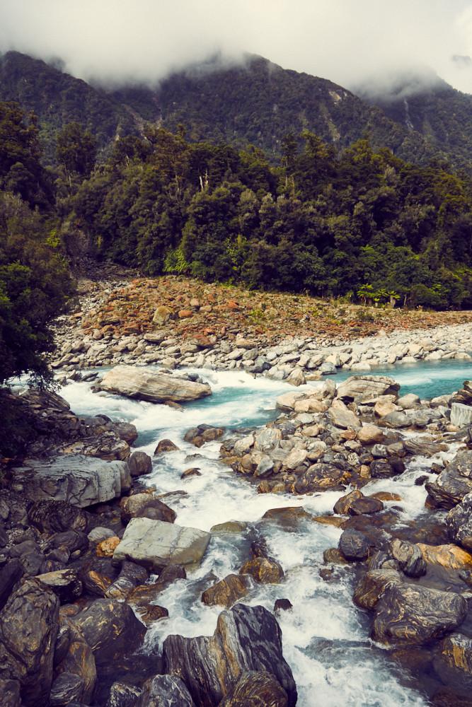 Copland Track, Wanderung, Wanderweg, Fluss, Bergfluss, Eis, Gletscherbach, National Park, Neuseeland, New Zealand, Nationalpark