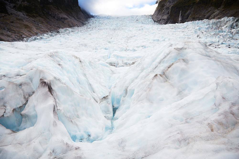 Fox Glacier, Gletscher, bewoelkt, morgens, Morgentour, Heli Hike, Gletschereis