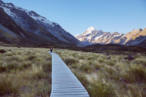 Hooker Valley, Track, Mount Cook, Nationalpark, Wanderroute, wandern, kurze Strecke, Berg, Tal, Weg, Neuseeland, Miles and Shores, New Zealand