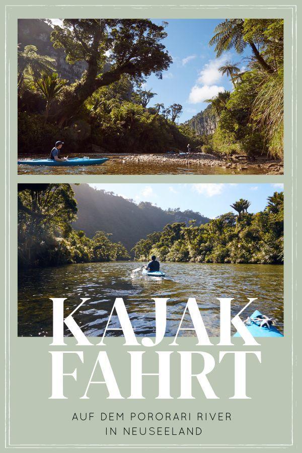 Eine Kajakfahrt in Punakaiki auf dem Pororari River in Neuseeland stand bevor. Für mich war es eines der schönsten Erlbenisse meines Lebens! Man paddelt auf dem ruhigen, seichten Fluss direkt in den neuseeländischen Regenwald! Die unglaubliche Landschaft und wenn die Sonne noch dazu durch die Farnpalmen bricht, ist die Magie komplett! Für mich ein absoluter Geheimtipp für Neuseeland Reisen! #neuseeland #reisen #südinsel #kajak #kajakfahren #kajaktour #bilder #mustdo #rundreise