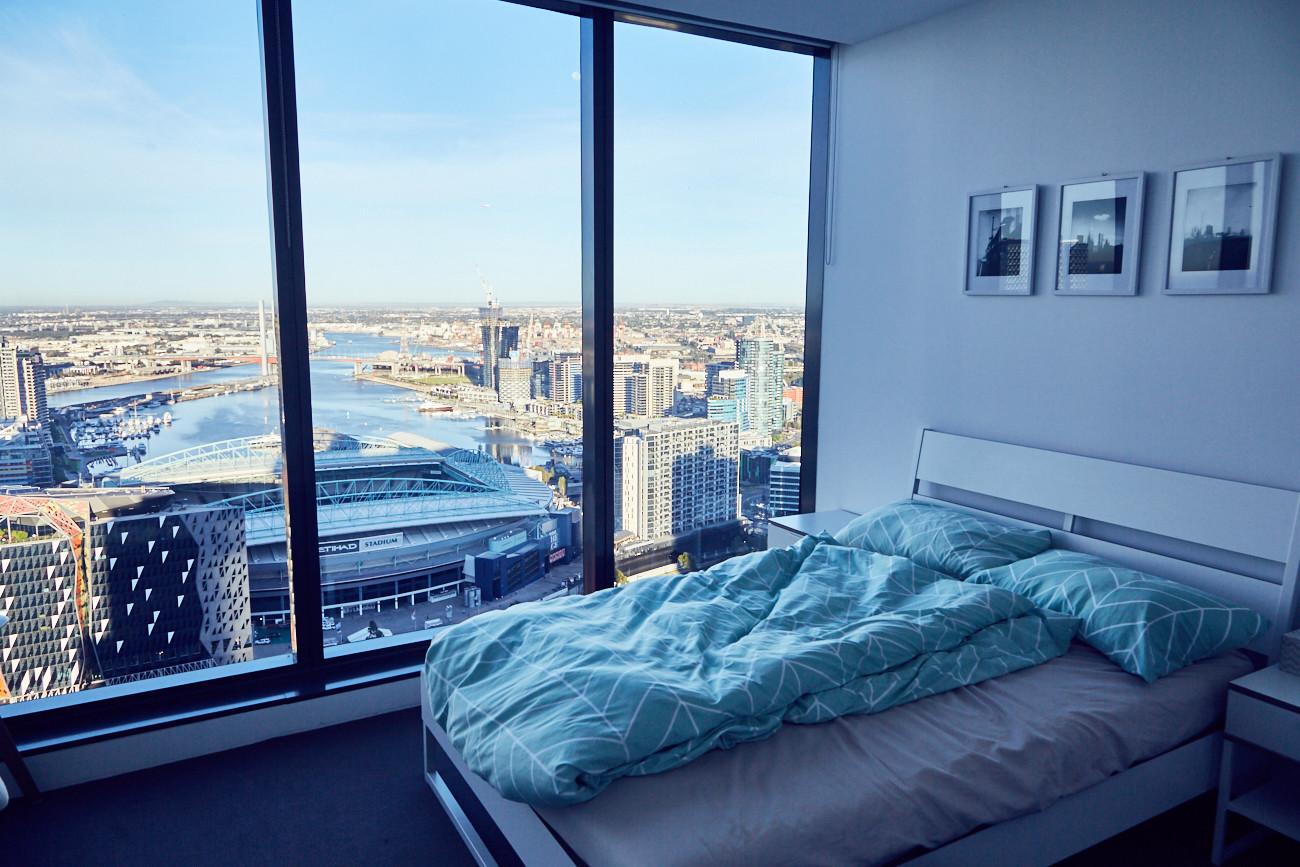 Melbourne, Aussicht, view, appartment, room, Airbnb, fantastisch, amazing, cityview, cityscape, Skyline, Panorama, Panoramafenster, Hochhaus, tower, Spencer Street, Docklands, Städtetrip, Citytrip, Etihad Stadium, Hosts, great, wonderful, experience, Reiseblog, Tipps und Tricks
