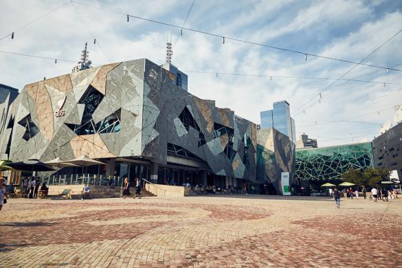Melbourne, Australien, Australia, Städtetrip, Federal Square, modern, Architektur, Platz, beeindruckend