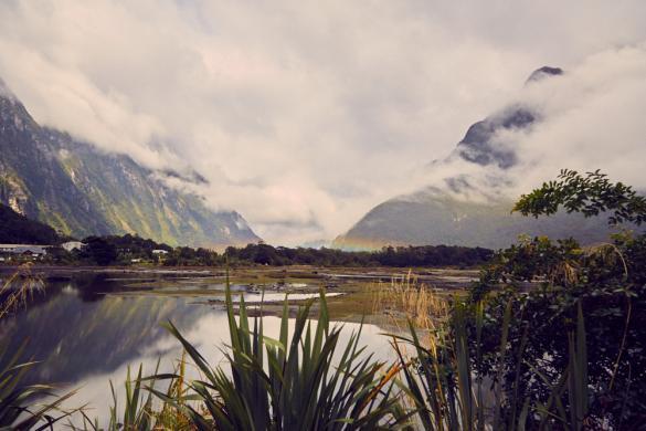 Milford Sound, Regenbogen, Landschaft, Aussicht, view, Landscape, rainbow, regnerisch, Regen, bewölkt, schlechtes Wetter, bad weather, Neuseeland, New Zealand, Südinsel, Fjordland, Nationalpark