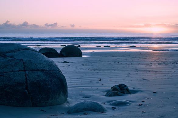 Moeraki Boulders, Sonnenaufgang, Landschaft, Meer, Sonne, Sunrise, wunderschoen, Zugang beim Café, Landschaftsfoto, Lieblingsbild