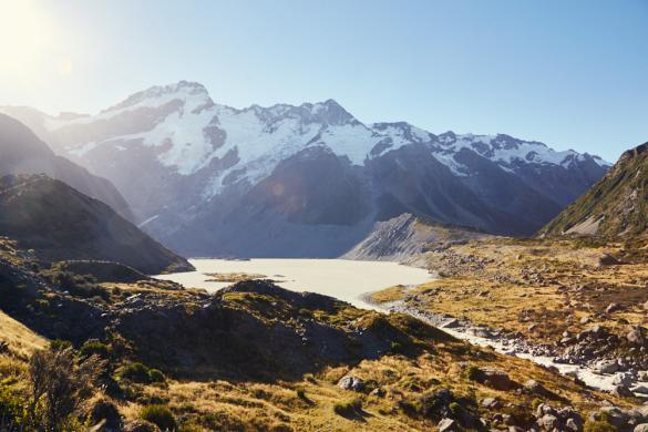 Mueller Lake, Hooker Valley Track, Mount Cook, National Park, hiking, Wandern, Wanderroute, Spaziergang, auf dem Weg