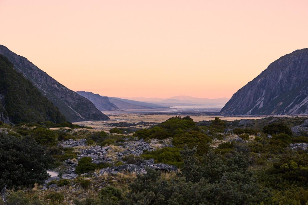 Sonnenuntergang, Sunset, Mount Cook Nationalpark, Landschaft, Landscape, beautiful, New Zealand, Neuseeland, Südsinel, Miles and Shores, Reiseblog, Travelblog, blogger
