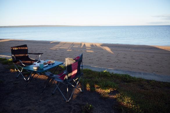 Lang Lang, Frühstück, am Strand, Beach, Breakfast, Camping, Roadtrip, Australien, Australia, Ostküste