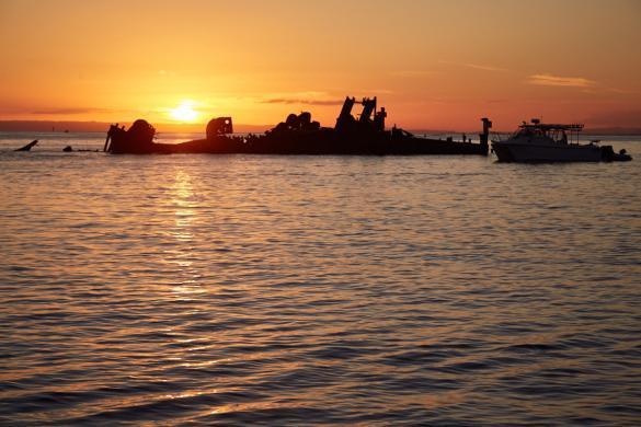 Schiffswrack, Wrack, Sonnenuntergang, sunset, wreck, shipwreck, Moreton Island, Brisbane, Insel, Tagesausflug, Ausflug