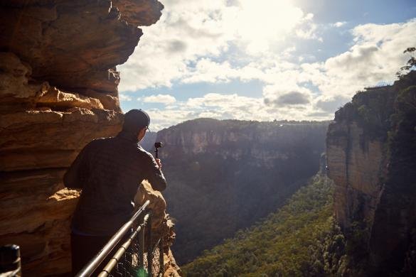 Three Sisters, Ausblick, Ronnie, Actioncam, Rollei, Filmen, Ausblick, view, landscape, Blue Mountains, travelblog, travelblogger