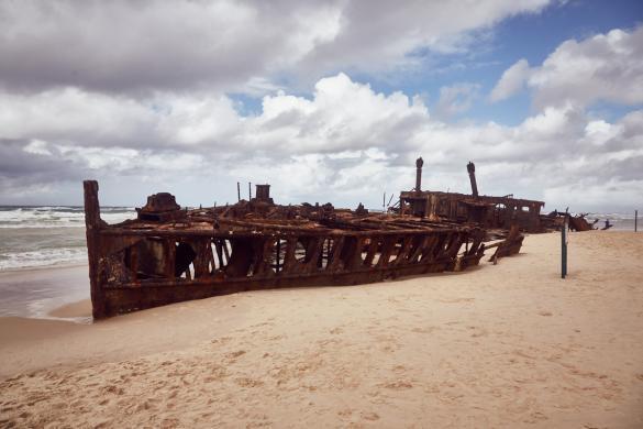 Fraser Island, Australien, Roadtrip, shipwreck, Schiffswrack, Attraktion, viewpoint, bewölkt