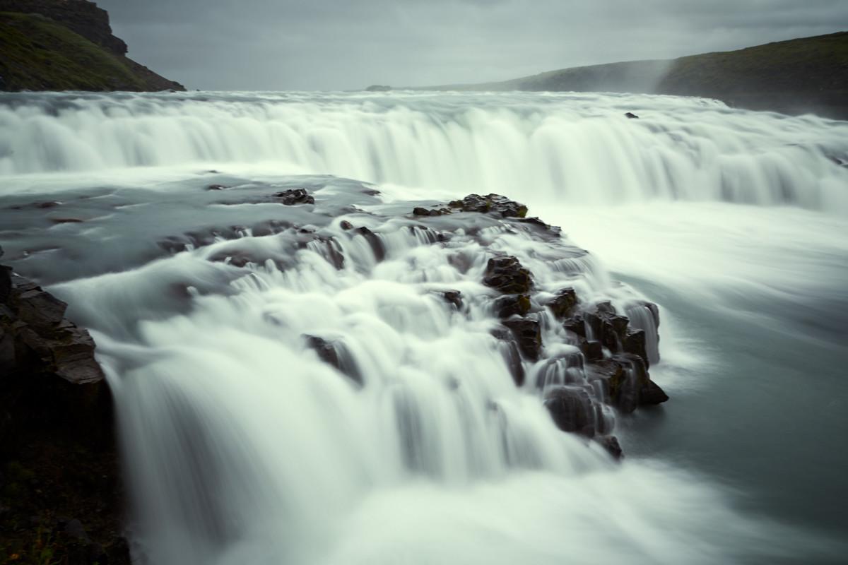 Gulfoss, Wasserfall, waterfall, Island, iceland, langzeitbelichtung, long exposure, roadtrip, reise, rundreise, wasser, fließend