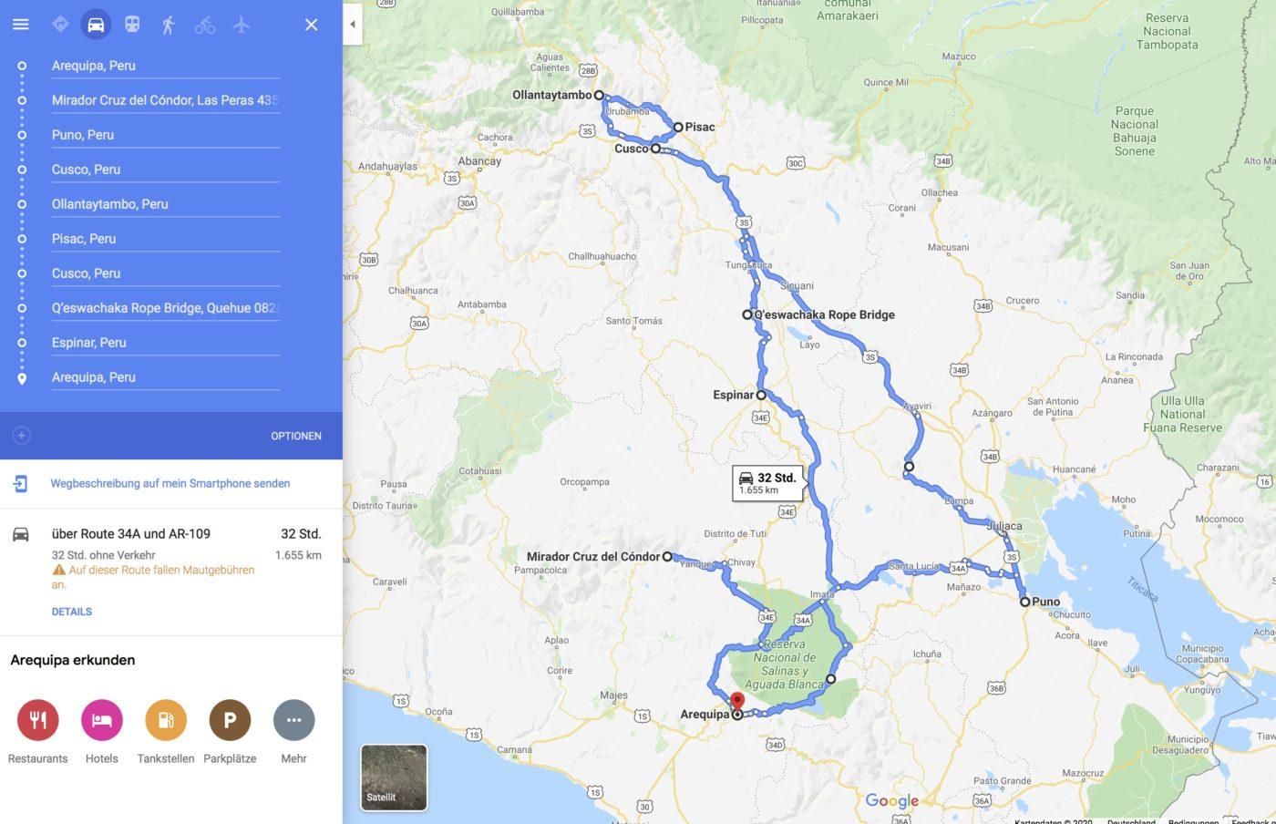 Route Peru Roadtrip, Unsere Route für den Peru Roadtrip, selbst autofahren in Peru