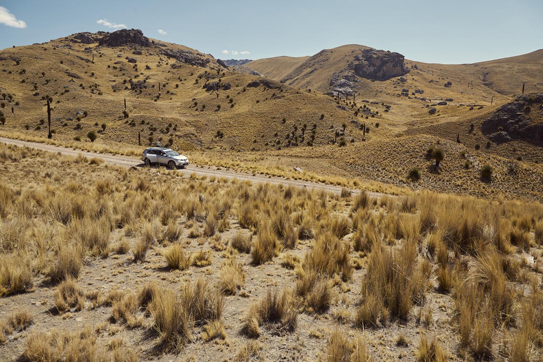 Mietauto in Peru, Auto stehend in wunderschöner Steppenlandschaft in den peruanischen Anden