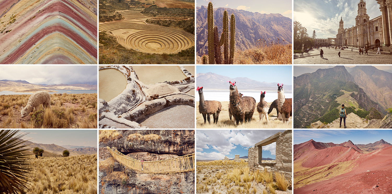 Peru Bilder von unserem Roadtrip, Rainbow Mountain, Alpacas, Lamas, Maras, Moray, Colca Canyon, Grasbrücke, Red Valley, Nationalpark Salinas y Aguada Blanca, Machu Picchu, Arequipa, Cusco