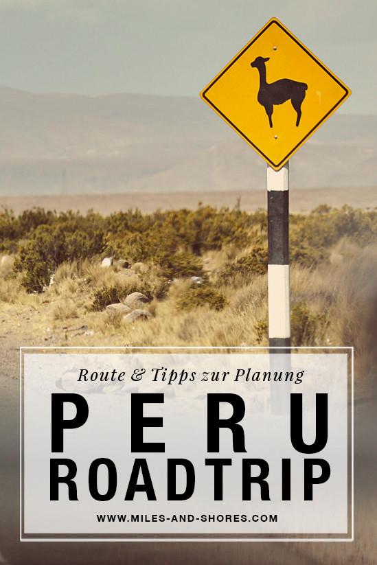 Es geht nach Peru! Darum musste auch die ultimative Peru Roadtrip Route gefunden werden! Die gesamte Route & Tipps zur Planung deines Roadtrips findest du auf unserem Blog. Außerdem haben wir kurz zusammen gefasst, worauf du bei der Mietwagenbuchung acht geben solltest. Verkehrsschild Peru, Achtung Guanacos, Alpacas, Tiere