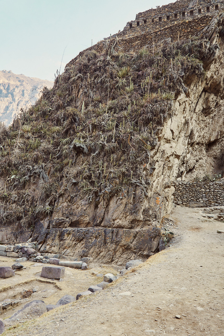Die Treppen und Hügel der Ruinen von Ollantaytambo
