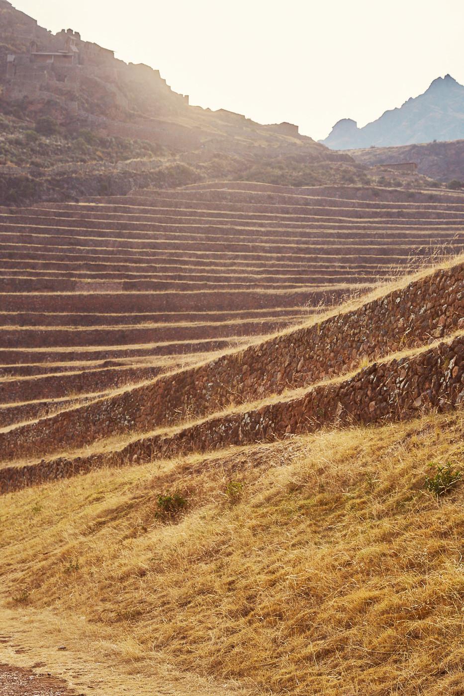 Die Terrassen von den Inka gebaut prägen heute die Landschaft