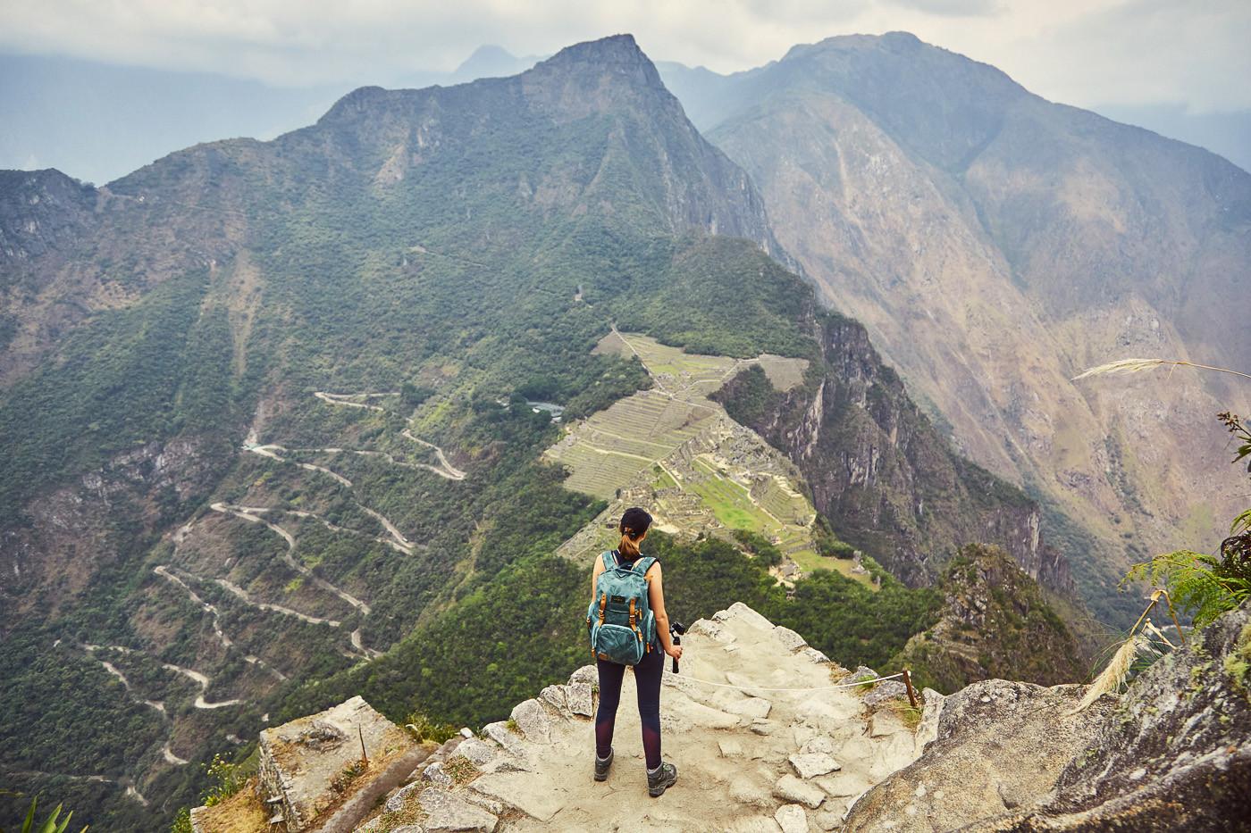 Hier stehe ich ueber Machu Picchu, wir haben die Wanderung auf den Huayna Picchu geschafft!
