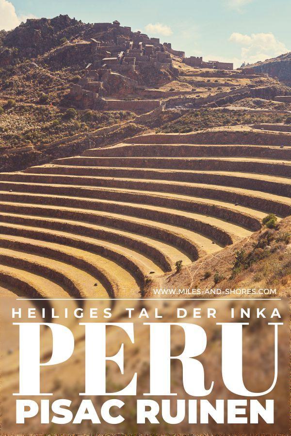 Die Pisac Ruinen waren eine Inka Stadt und Befestigungsanlage. Sie liegt im Heiligen Tal der Inka in Peru. Es waren kaum Touristen unterwegs und die Ruinen sind extrem gut erhalten! Auf verschiedenen Wegen wandert man von Hügel zu Hügel, gelangt zu Befestigungstürmen, kommt durch kurze Tunnel und kann entlang der Inka Terrassen zurück zum Parkplatz spazieren. Dieser Spot sollte bei jeder Peru Reise mit auf der Bucket List stehen! #peru #roadtrip #reise #bilder #planung #mustsee #bucketlist #travel