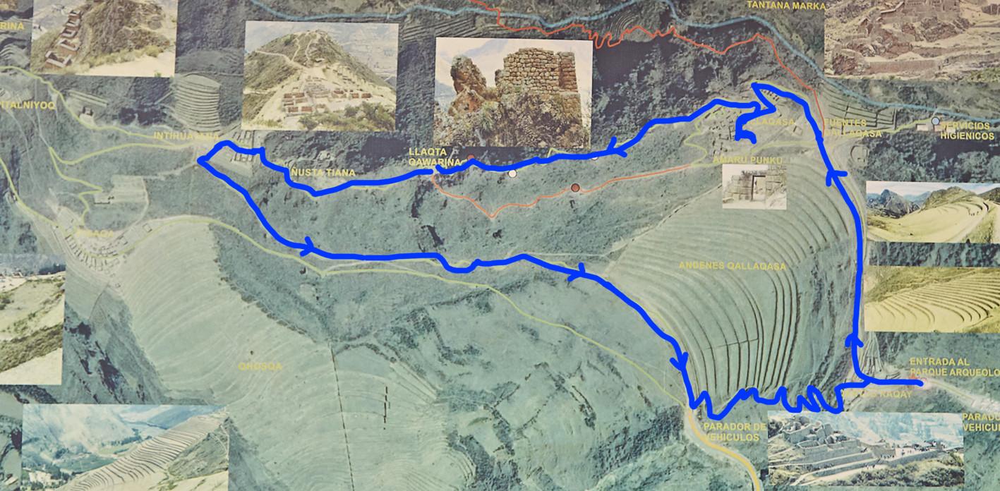 Wir haben die blau eingezeichnete Route bei den Pisac Ruinen in Peru gewählt