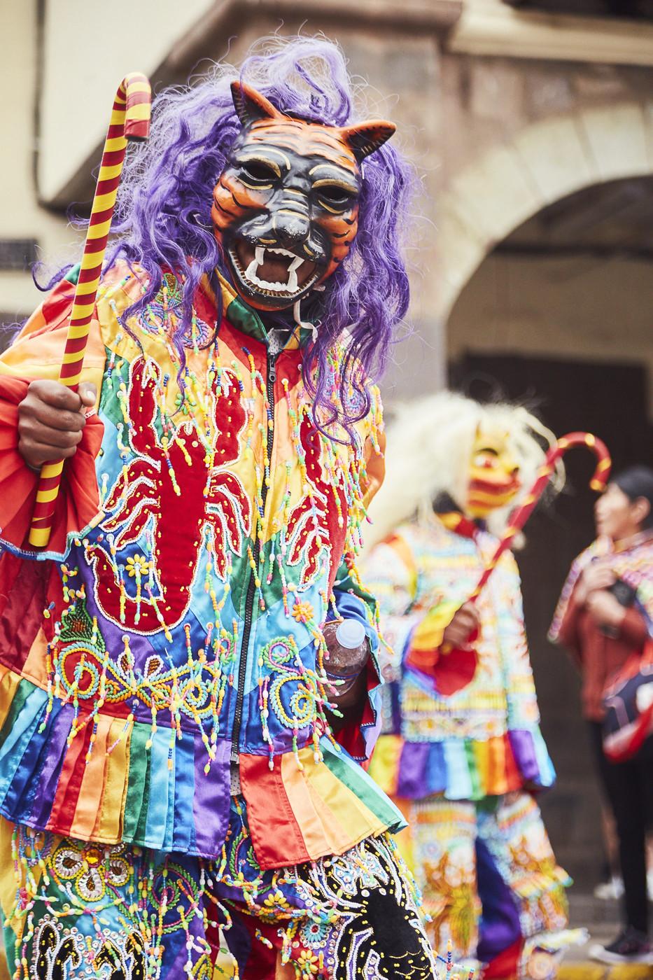 Farbenfrohe Kleidung und eine Tigermaske mit Lila Haaren, jede Gruppe hatte bei der Feier des Señor de Huanca ihre eigene Verkleidung