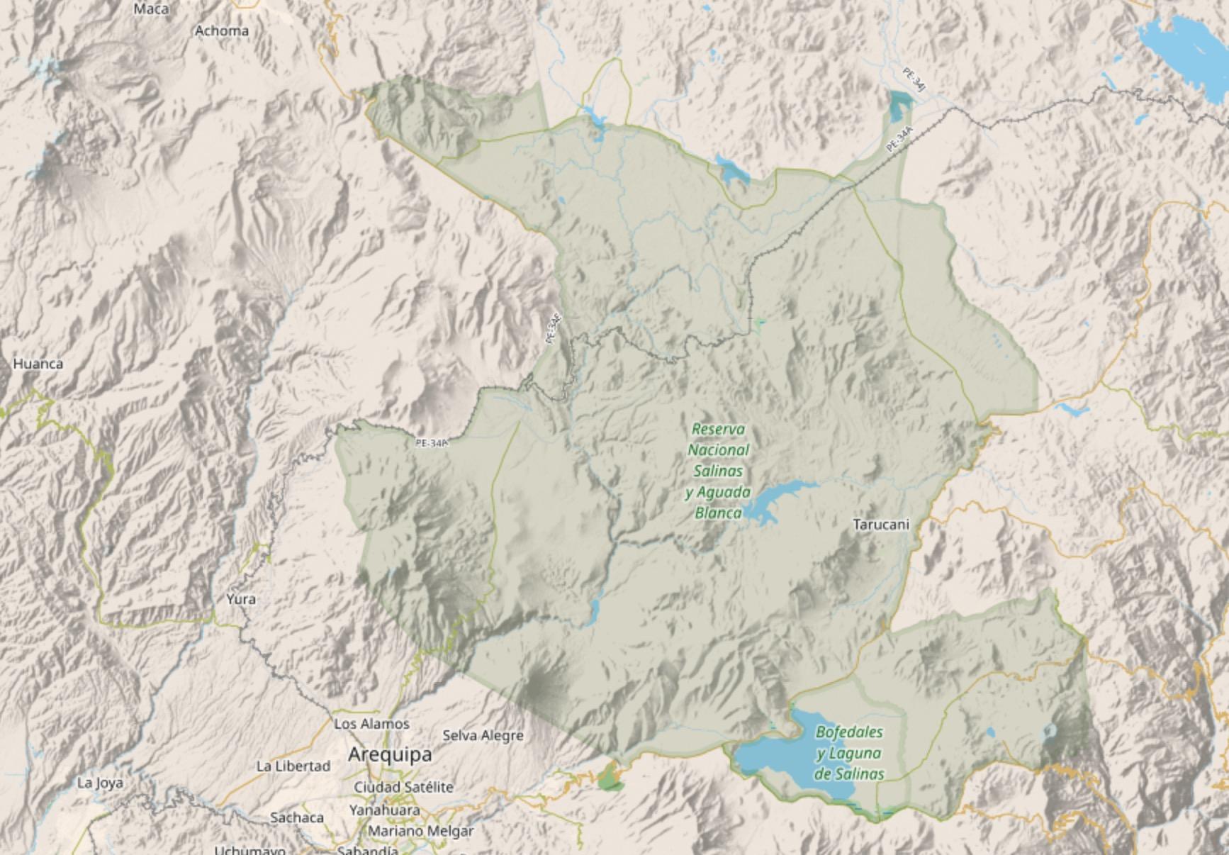 Auf dieser Karte sieht man wie groß das Reserva Nacional de Salinas y Aguada Blanca ist