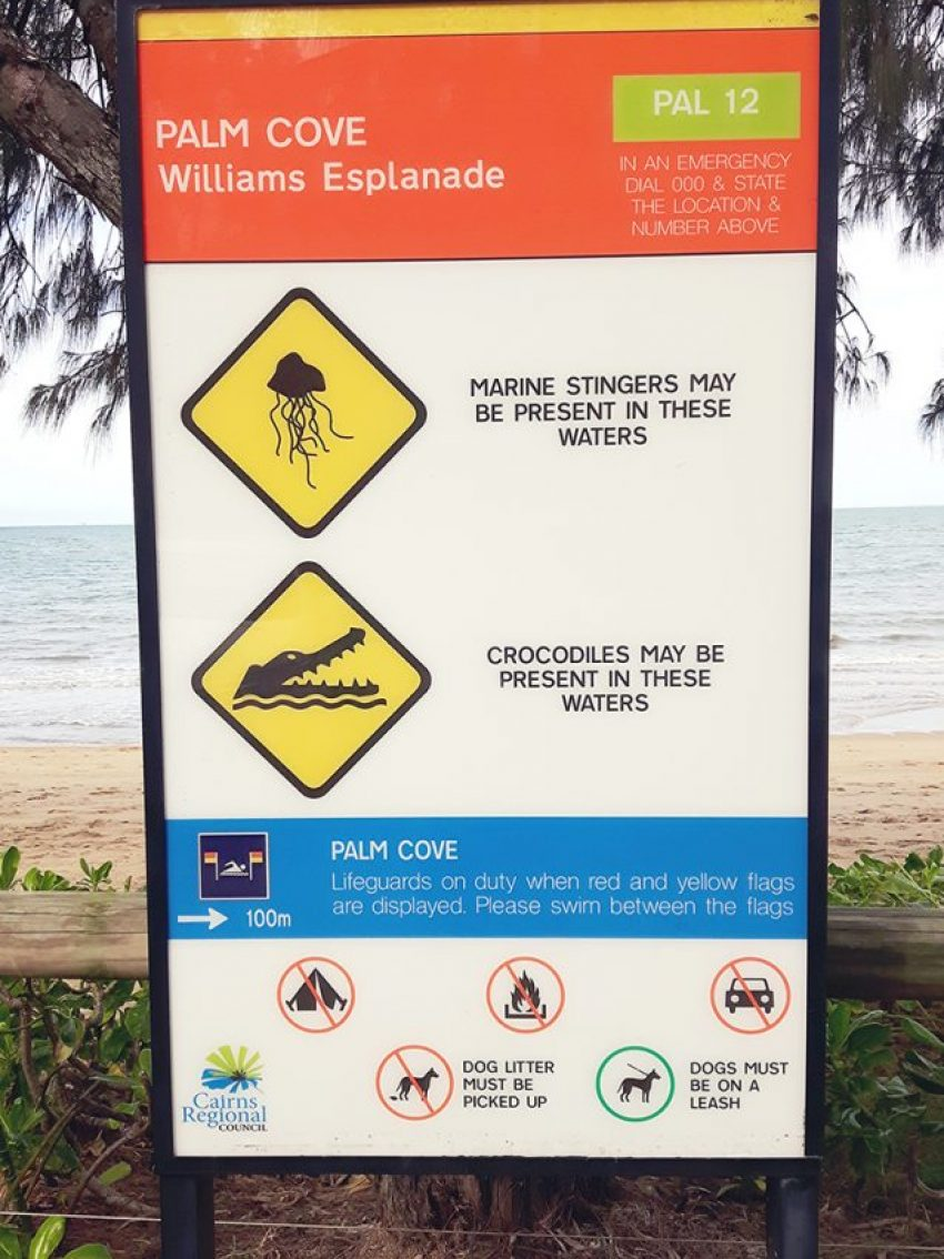 Warnschild, Quallen, Krokodile, Australien, Quallen in Australien, Informationen, Reiseblog, Miles and Shores, Salties, Warnschilder, Roadtrip